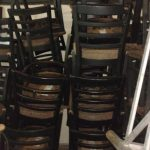 Used Black Restaurant Chairs with Padded Seat Cushions