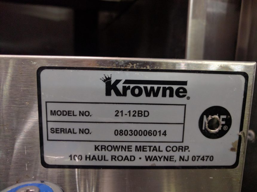data plate Used Krowne Blender/Dump Station #21-12BD