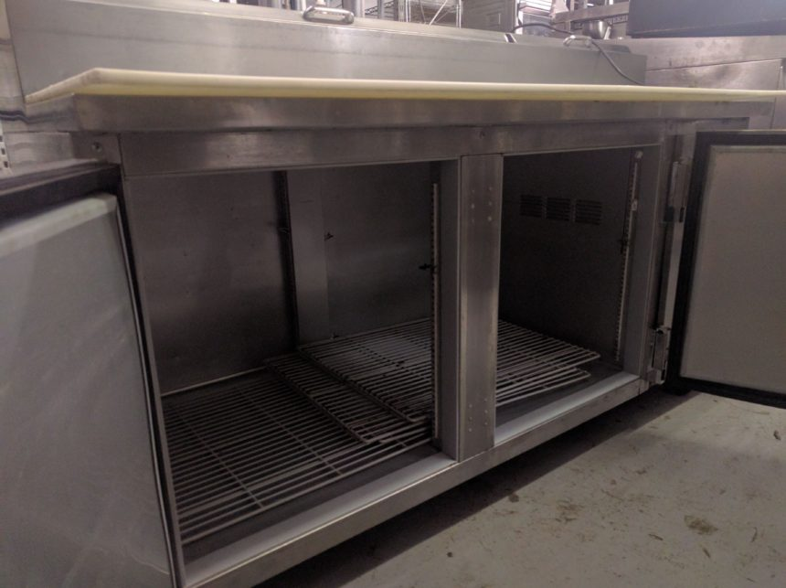 "inside view used 67"" Beverage-Air DP67 Pizza Prep Unit"