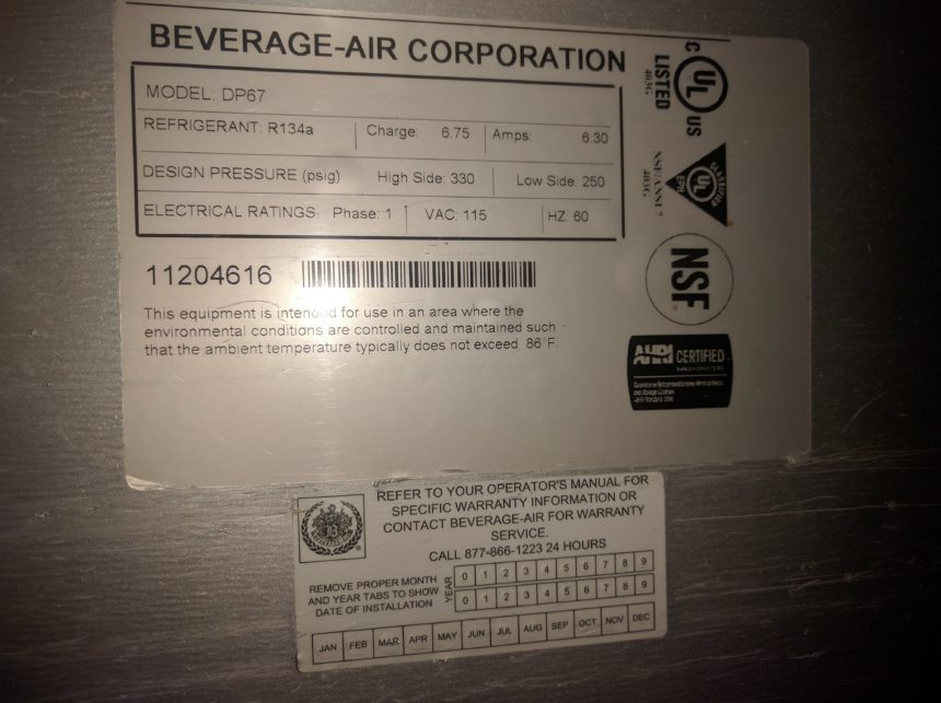 "data tag used 67"" Beverage-Air DP67 Pizza Prep Unit"