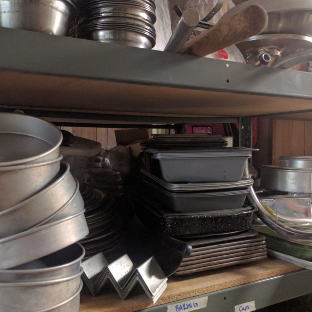 various baking pans and bowls