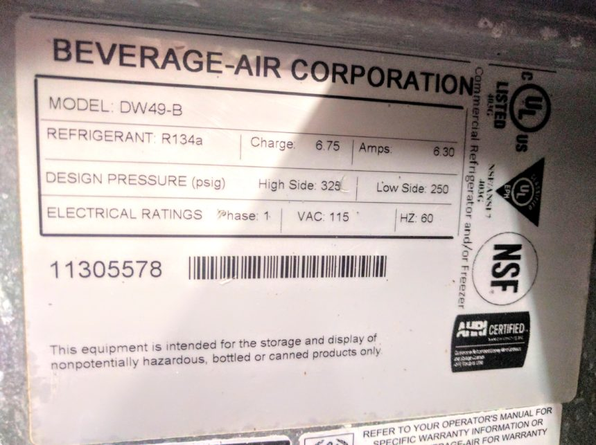 data tag Used Beverage-Air DW49-B Bottle Cooler