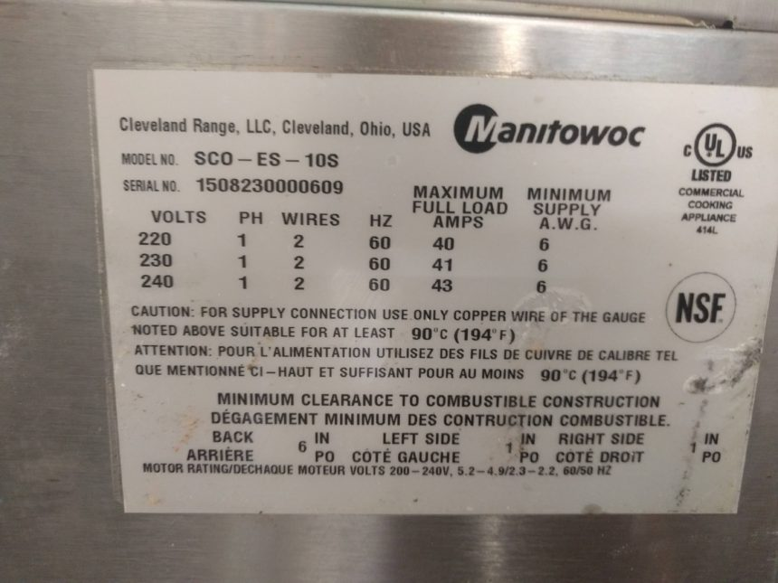 data tag Used Garland SCO-ES-10S Convection Oven