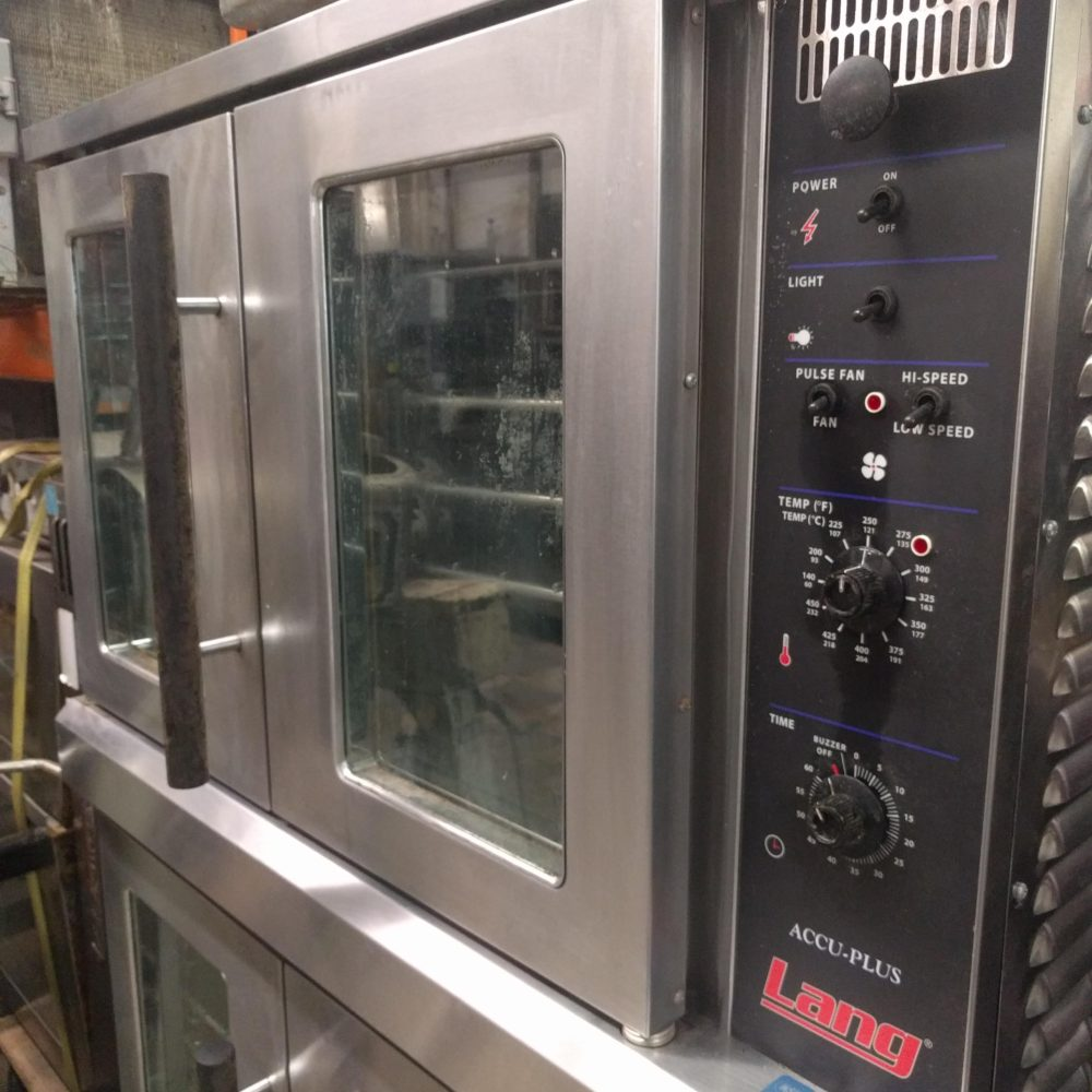 side view Used Set of Lang ECOF-AP Convection Ovens