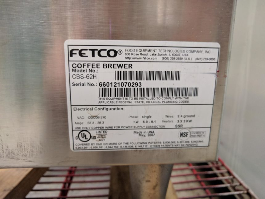 data tagUSED Fetco CBS-62H Coffee Brewer