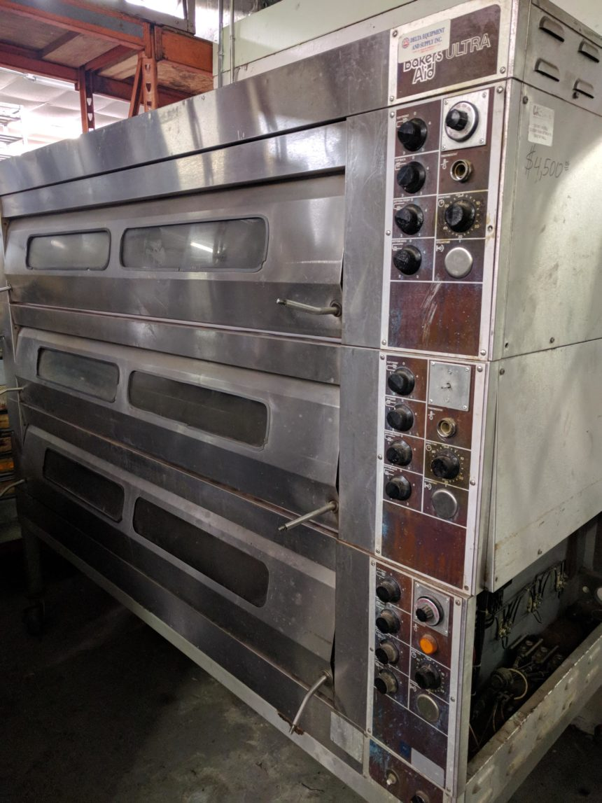 close up USED Bakers Aid ULTRA Triple Deck Oven